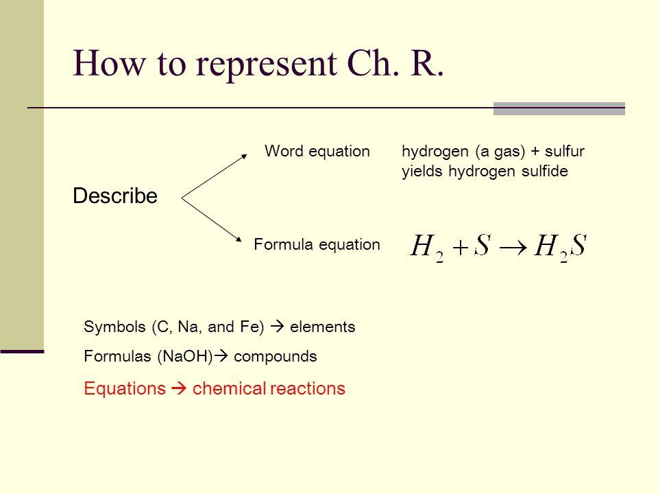 How to represent Ch. R. Describe Word equation Formula equation Symbols (C, Na, and Fe) elements Formulas (NaOH) compounds Equations chemical reaction