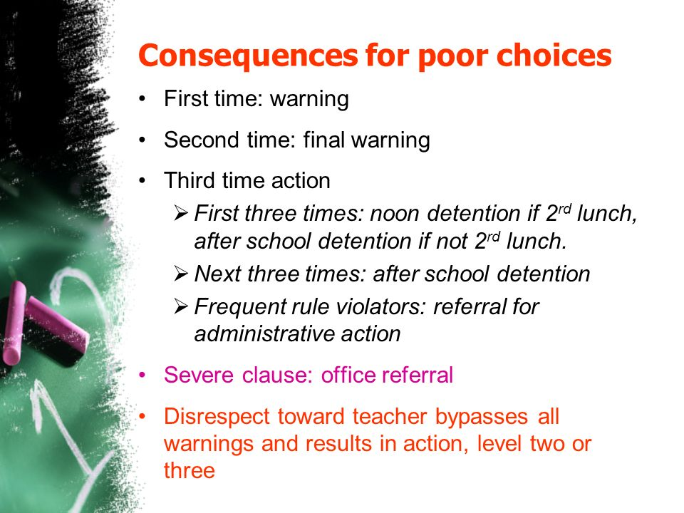 Consequences for poor choices First time: warning Second time: final warning Third time action First three times: noon detention if 2 rd lunch, after school detention if not 2 rd lunch.