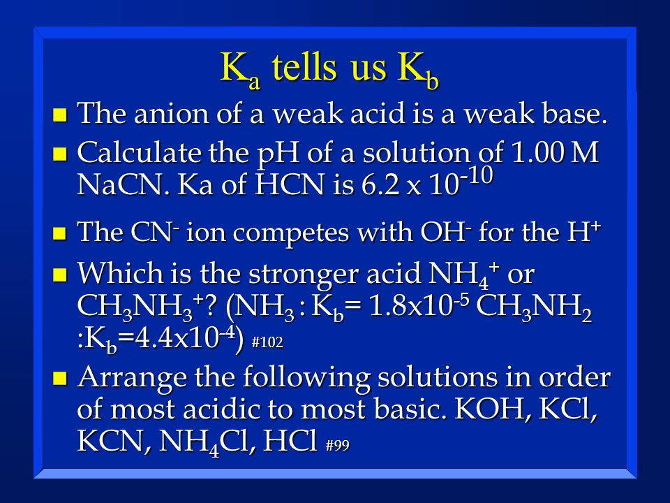 K a tells us K b n The anion of a weak acid is a weak base. n Calculate the pH of a solution of 1.00 M NaCN. Ka of HCN is 6.2 x 10 -10 n The CN - ion