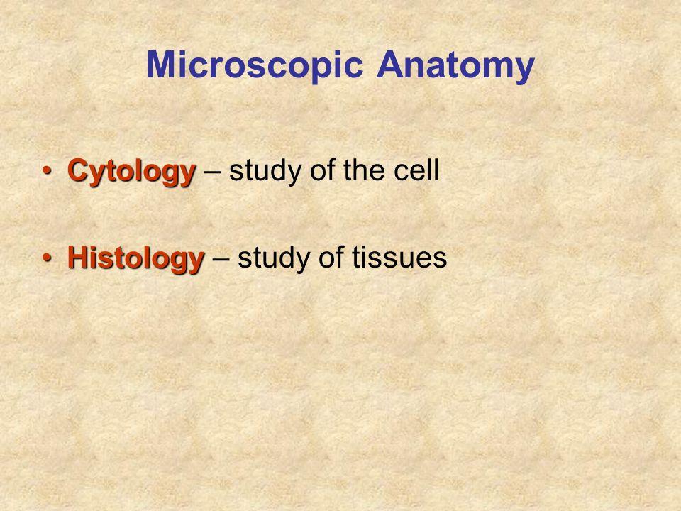Microscopic Anatomy CytologyCytology – study of the cell HistologyHistology – study of tissues