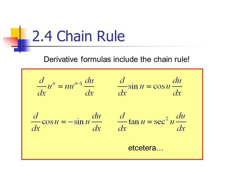 Derivative formulas include the chain rule! etcetera… 2.4 Chain Rule