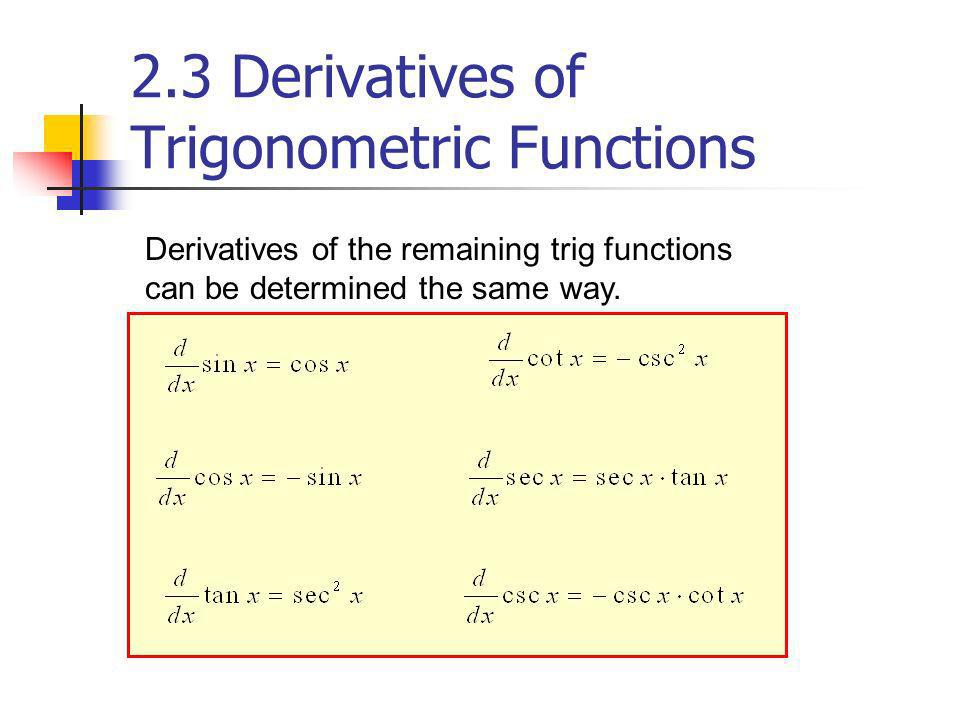Derivatives of the remaining trig functions can be determined the same way. 2.3 Derivatives of Trigonometric Functions