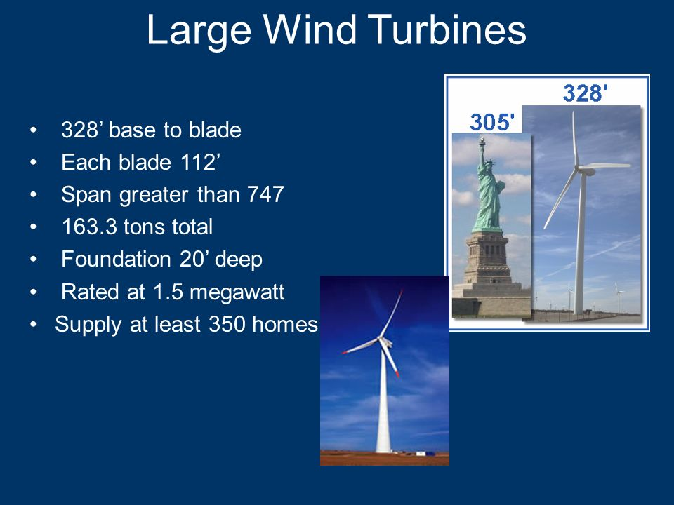 Large Wind Turbines 328 base to blade Each blade 112 Span greater than 747 163.3 tons total Foundation 20 deep Rated at 1.5 megawatt Supply at least 3