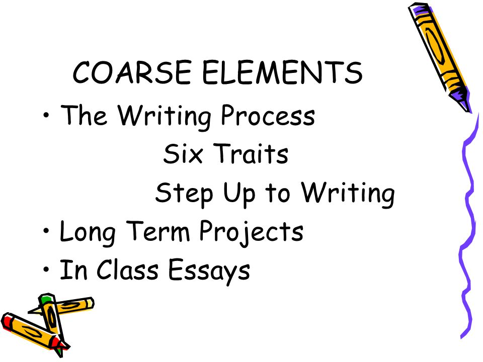 COARSE ELEMENTS The Writing Process Six Traits Step Up to Writing Long Term Projects In Class Essays