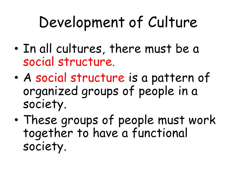 Development of Culture In all cultures, there must be a social structure. A social structure is a pattern of organized groups of people in a society.