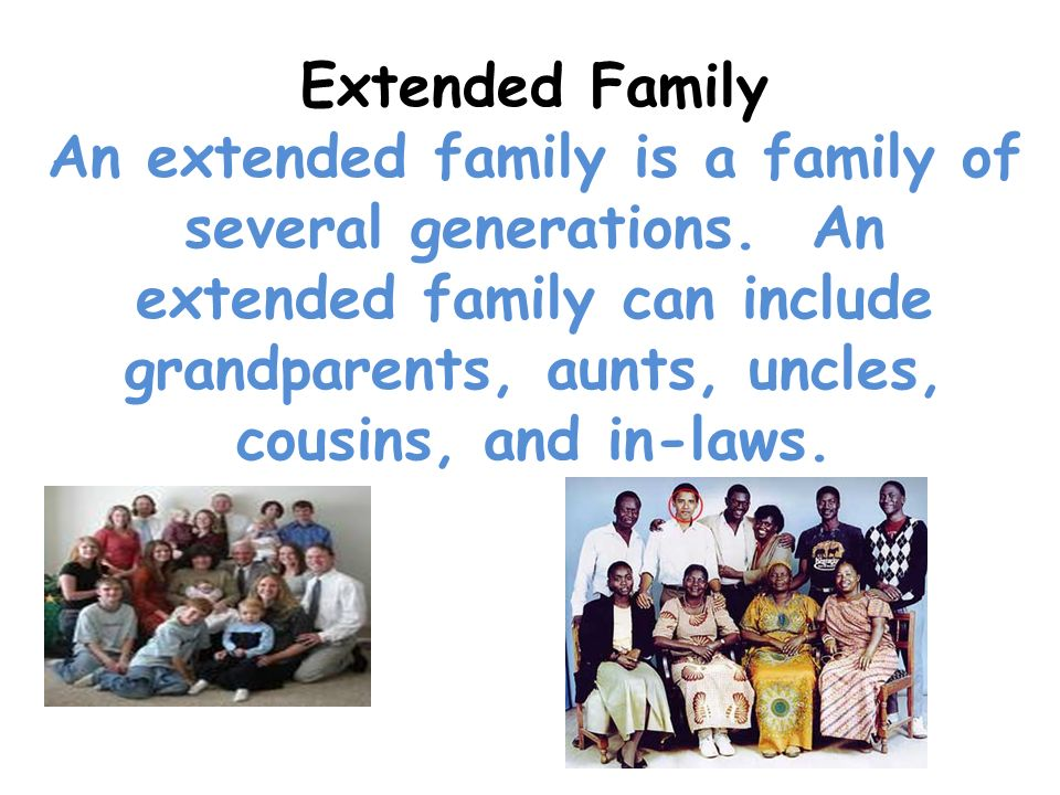 Extended Family An extended family is a family of several generations. An extended family can include grandparents, aunts, uncles, cousins, and in-law