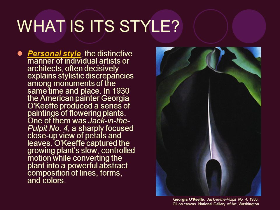 WHAT IS ITS STYLE? Personal style, the distinctive manner of individual artists or architects, often decisively explains stylistic discrepancies among