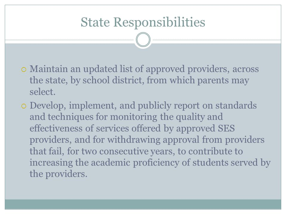 State Responsibilities Maintain an updated list of approved providers, across the state, by school district, from which parents may select.