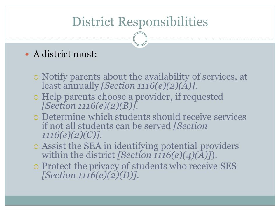District Responsibilities A district must: Notify parents about the availability of services, at least annually [Section 1116(e)(2)(A)]. Help parents
