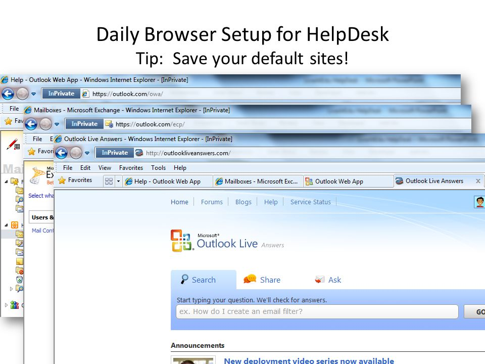 Daily Browser Setup for HelpDesk Tip: Save your default sites!