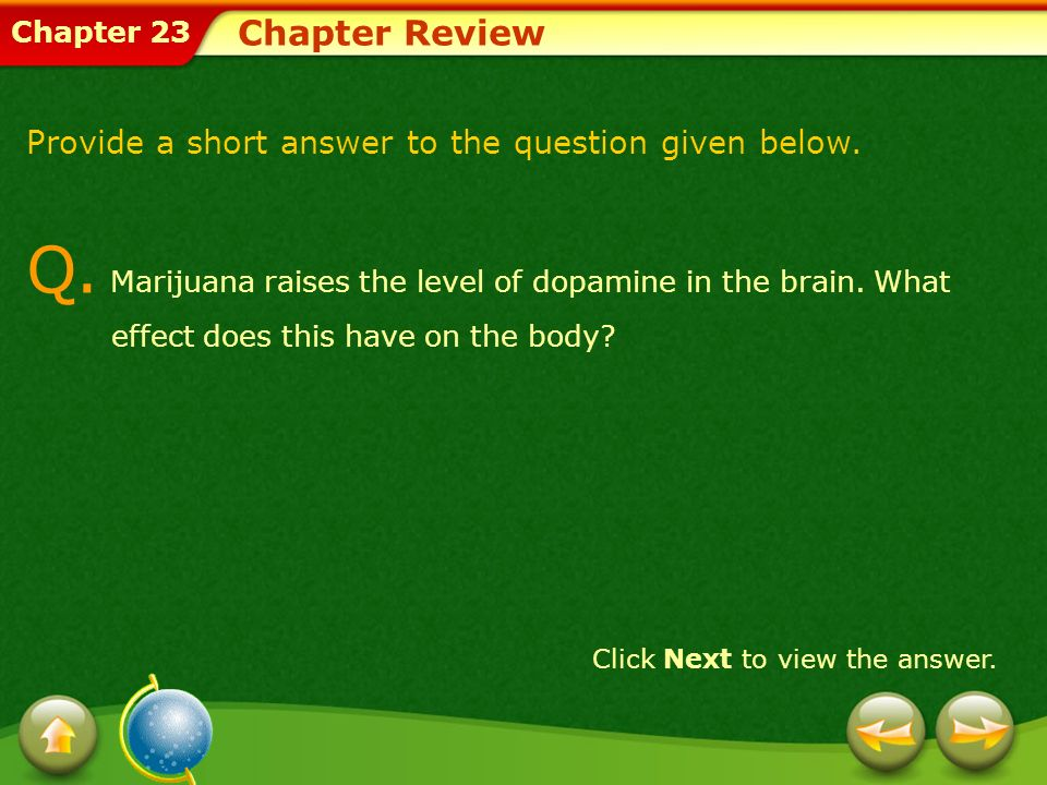 Chapter 23 Chapter Review Provide a short answer to the question given below. Click Next to view the answer. Q. Marijuana raises the level of dopamine
