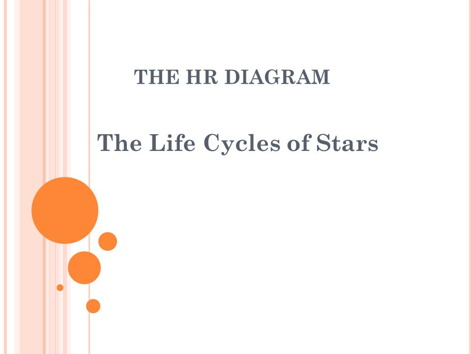 THE HR DIAGRAM The Life Cycles of Stars