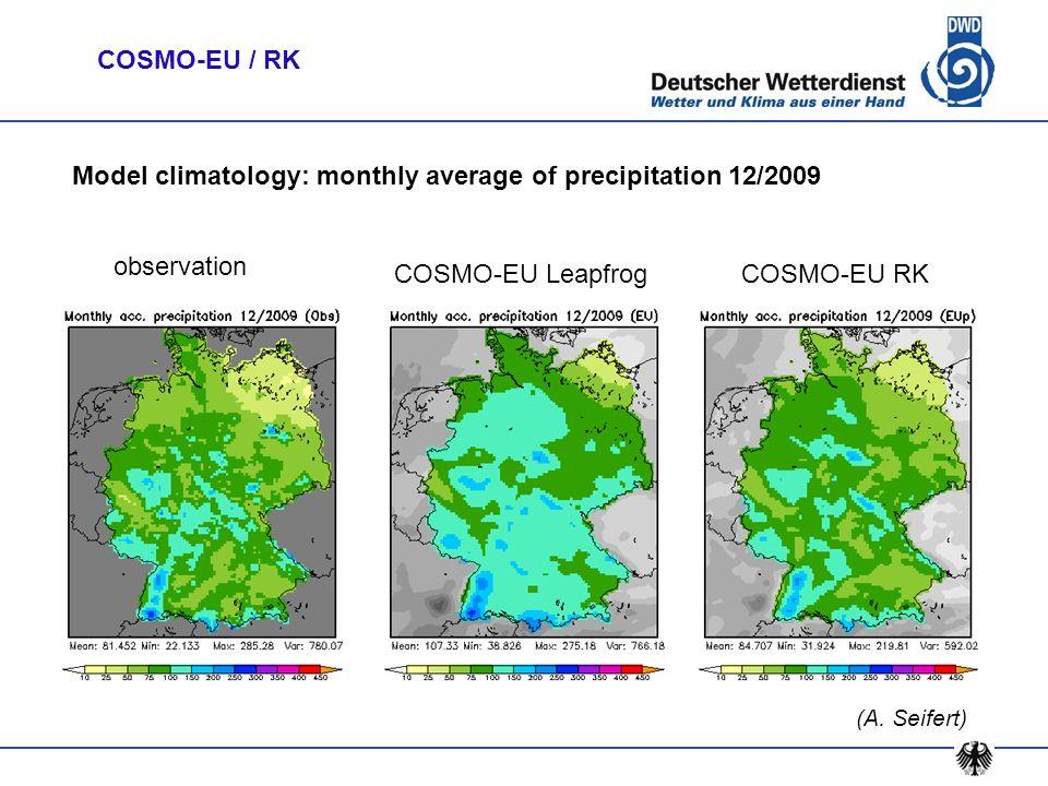 Model climatology: monthly average of precipitation 12/2009 observation COSMO-EU LeapfrogCOSMO-EU RK (A. Seifert) COSMO-EU / RK