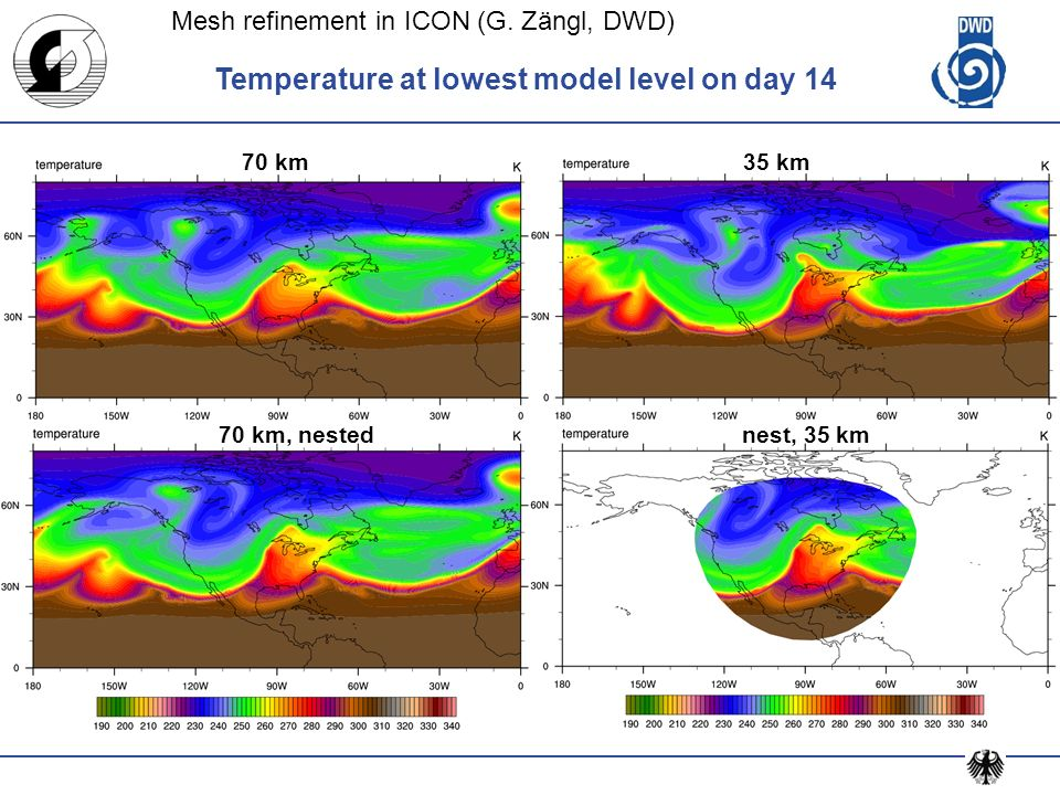 Temperature at lowest model level on day 14 70 km 70 km, nestednest, 35 km 35 km Mesh refinement in ICON (G. Zängl, DWD)