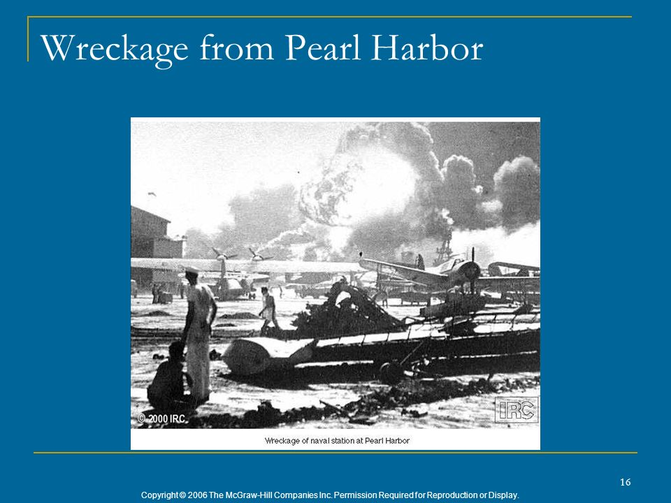 Copyright © 2006 The McGraw-Hill Companies Inc. Permission Required for Reproduction or Display. 16 Wreckage from Pearl Harbor