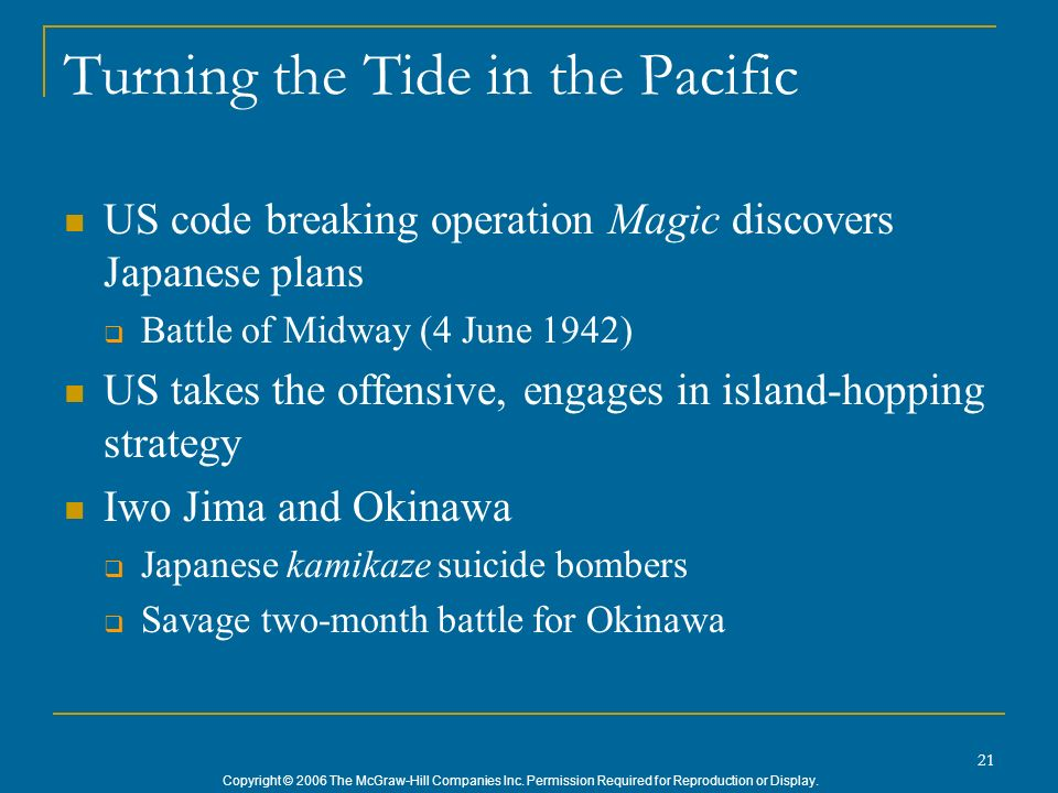 Copyright © 2006 The McGraw-Hill Companies Inc. Permission Required for Reproduction or Display. 21 Turning the Tide in the Pacific US code breaking o