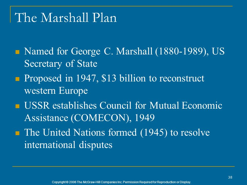 Copyright © 2006 The McGraw-Hill Companies Inc. Permission Required for Reproduction or Display. 38 The Marshall Plan Named for George C. Marshall (18