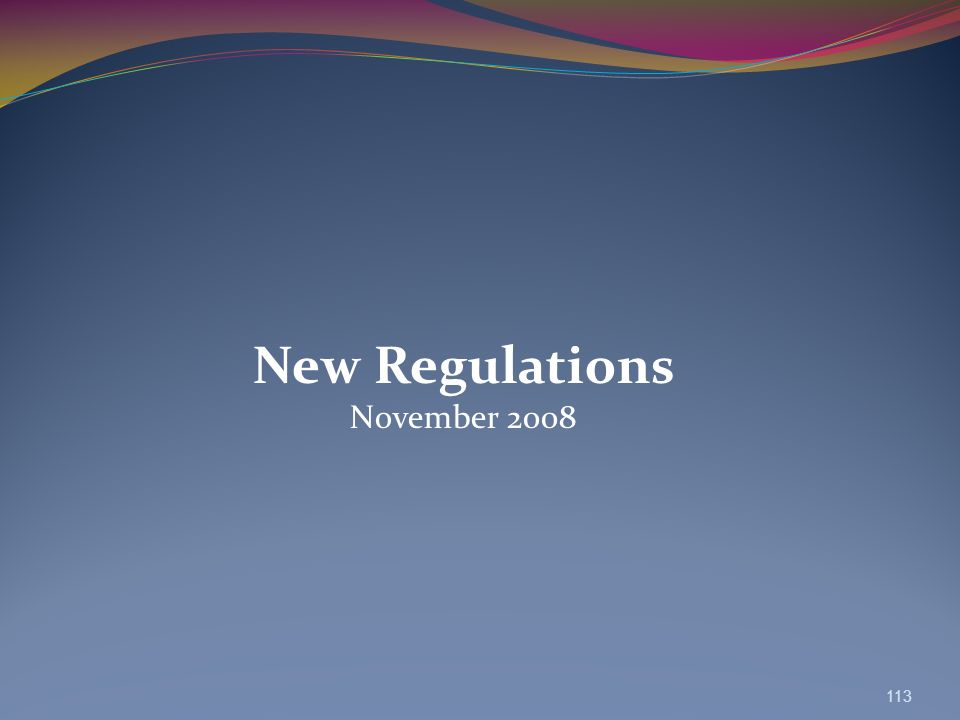 New Regulations November 2008 113