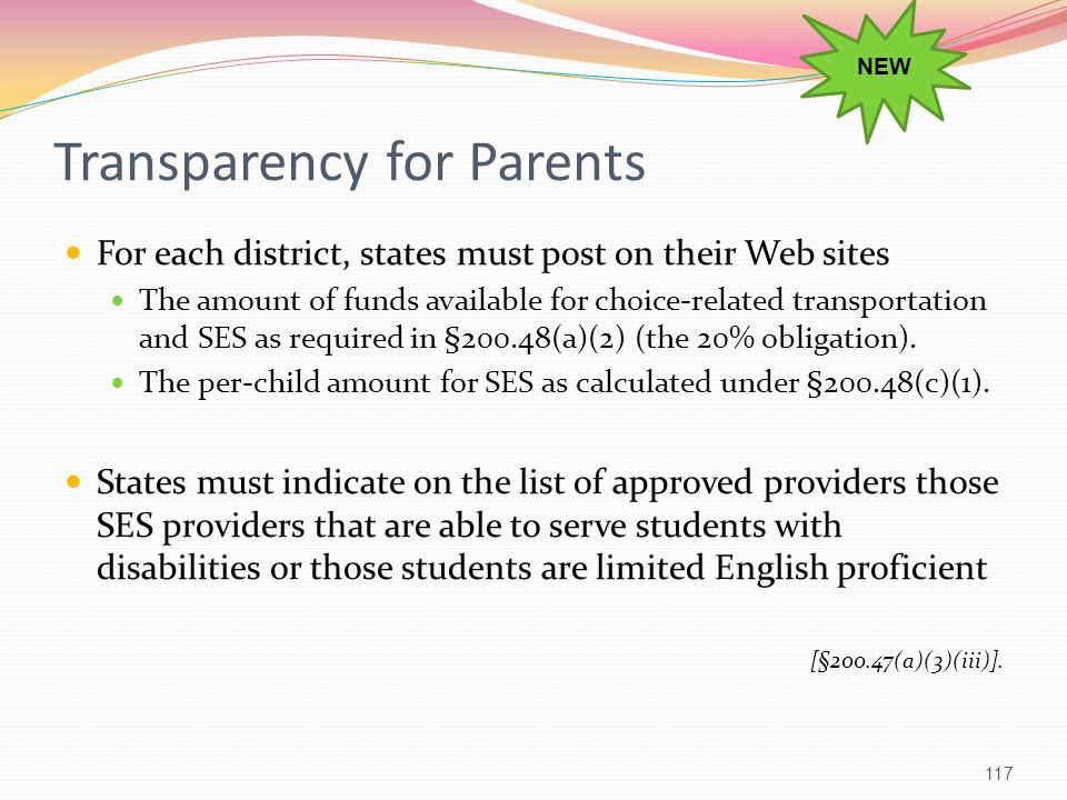 Transparency for Parents For each district, states must post on their Web sites The amount of funds available for choice-related transportation and SE