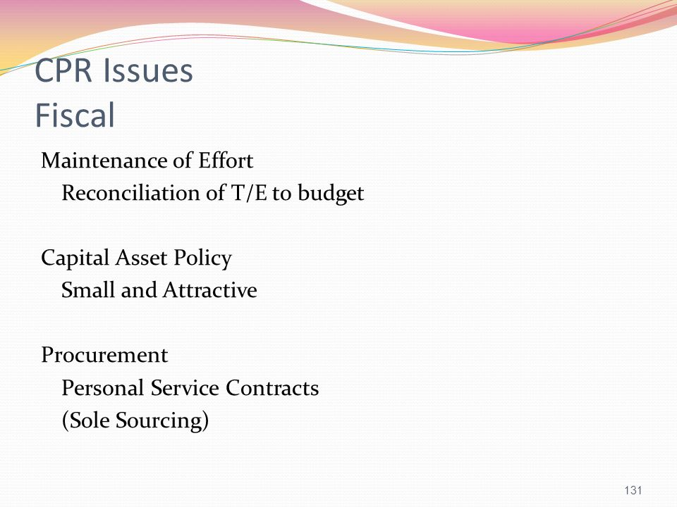 CPR Issues Fiscal Maintenance of Effort Reconciliation of T/E to budget Capital Asset Policy Small and Attractive Procurement Personal Service Contrac
