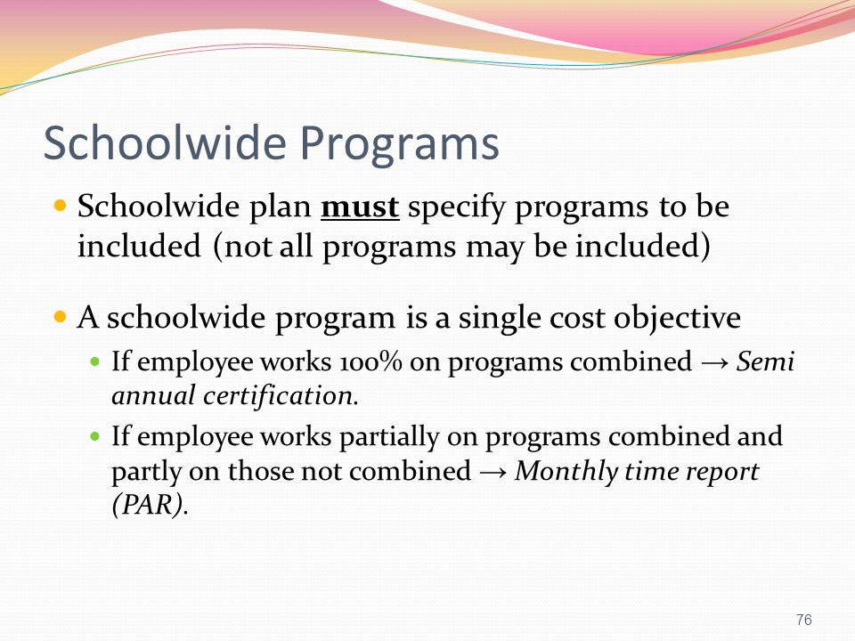 Schoolwide Programs Schoolwide plan must specify programs to be included (not all programs may be included) A schoolwide program is a single cost obje
