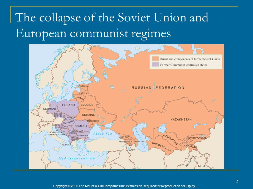 Copyright © 2006 The McGraw-Hill Companies Inc. Permission Required for Reproduction or Display. 2 The collapse of the Soviet Union and European commu