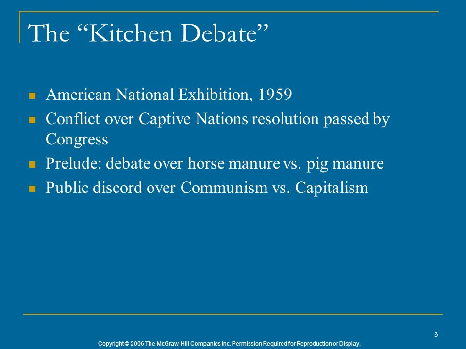 Copyright © 2006 The McGraw-Hill Companies Inc. Permission Required for Reproduction or Display. 3 The Kitchen Debate American National Exhibition, 19