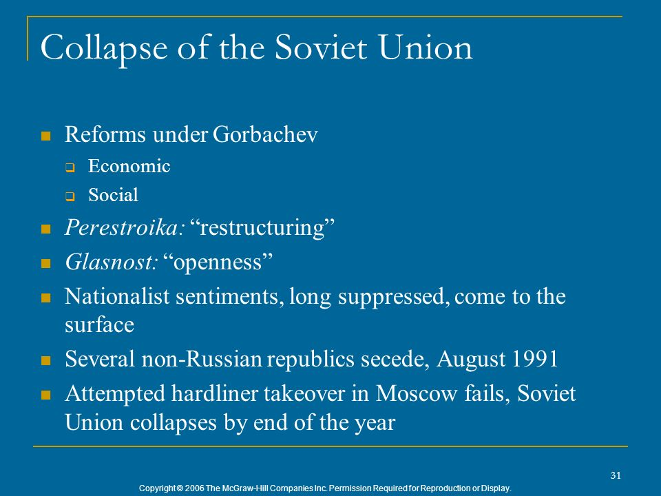 Copyright © 2006 The McGraw-Hill Companies Inc. Permission Required for Reproduction or Display. 31 Collapse of the Soviet Union Reforms under Gorbach