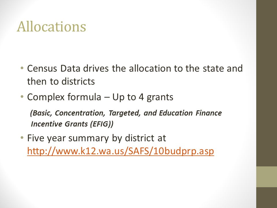 Allocations Census Data drives the allocation to the state and then to districts Complex formula – Up to 4 grants (Basic, Concentration, Targeted, and