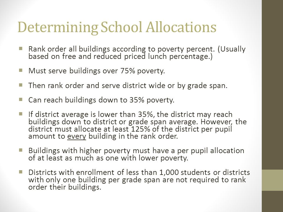 Determining School Allocations Rank order all buildings according to poverty percent. (Usually based on free and reduced priced lunch percentage.) Mus