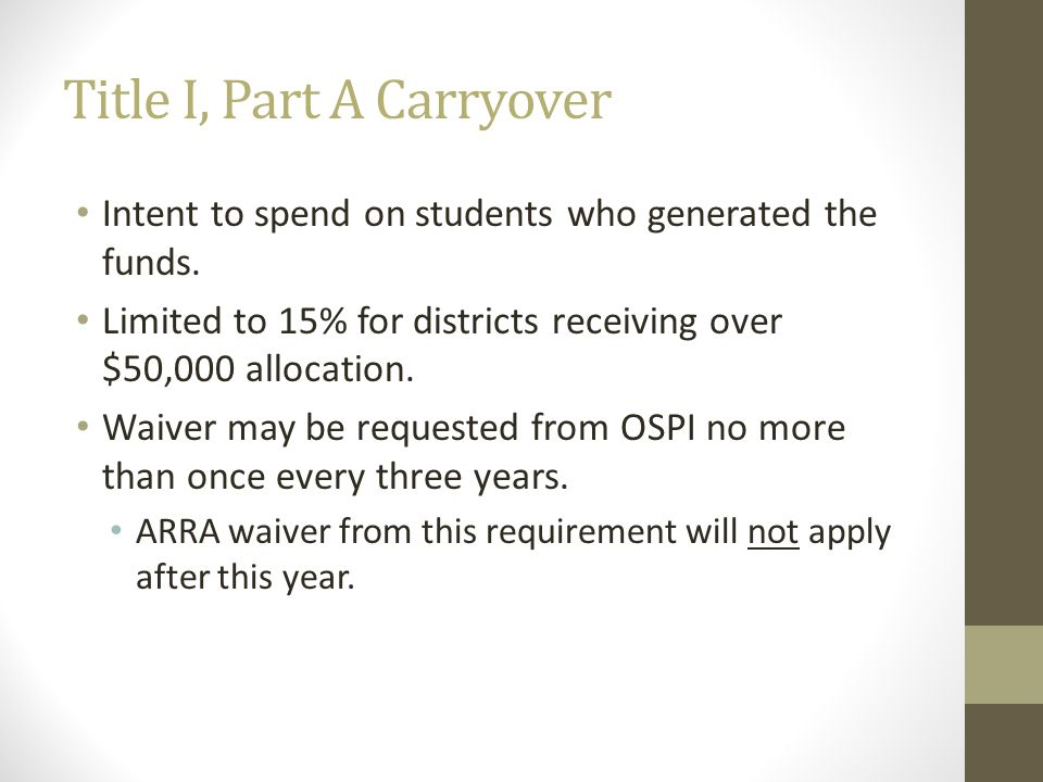 Title I, Part A Carryover Intent to spend on students who generated the funds. Limited to 15% for districts receiving over $50,000 allocation. Waiver