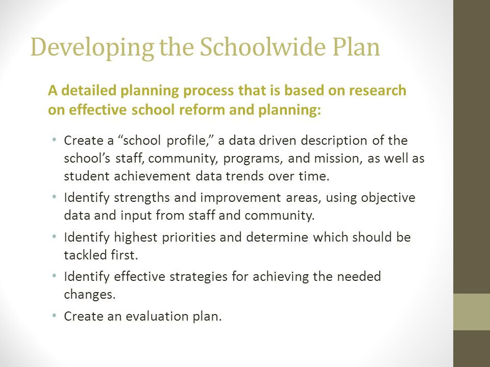 Developing the Schoolwide Plan A detailed planning process that is based on research on effective school reform and planning: Create a school profile,
