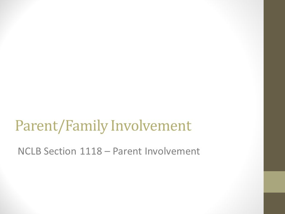 Parent/Family Involvement NCLB Section 1118 – Parent Involvement
