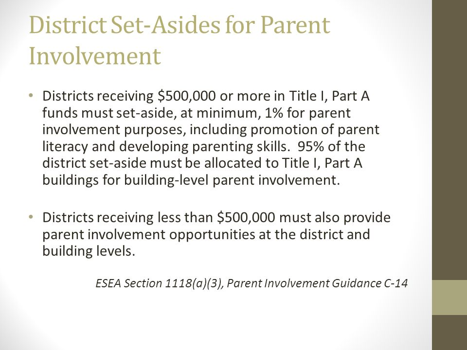 District Set-Asides for Parent Involvement Districts receiving $500,000 or more in Title I, Part A funds must set-aside, at minimum, 1% for parent inv