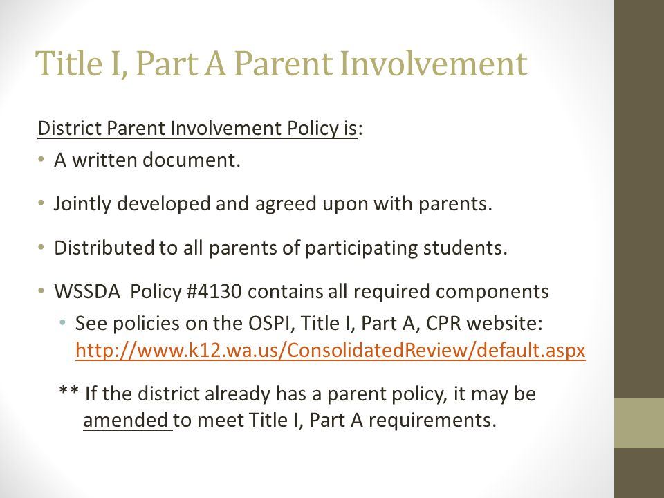 Title I, Part A Parent Involvement District Parent Involvement Policy is: A written document. Jointly developed and agreed upon with parents. Distribu