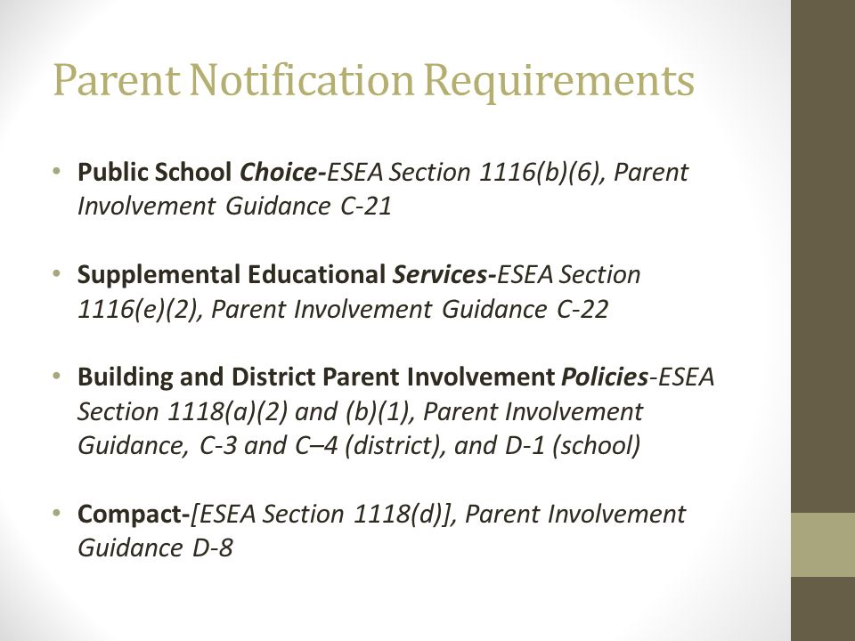 Parent Notification Requirements Public School Choice-ESEA Section 1116(b)(6), Parent Involvement Guidance C-21 Supplemental Educational Services-ESEA