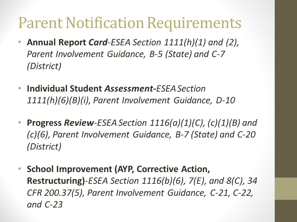 Parent Notification Requirements Annual Report Card-ESEA Section 1111(h)(1) and (2), Parent Involvement Guidance, B-5 (State) and C-7 (District) Indiv