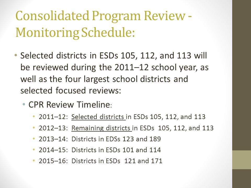 Consolidated Program Review - Monitoring Schedule: Selected districts in ESDs 105, 112, and 113 will be reviewed during the 2011–12 school year, as we