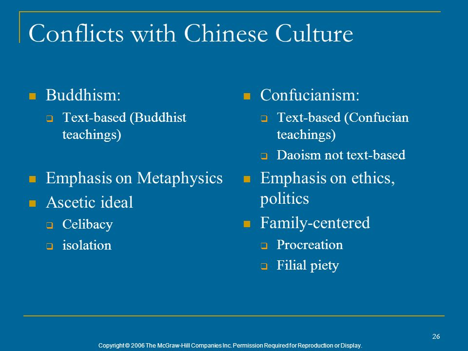 Copyright © 2006 The McGraw-Hill Companies Inc. Permission Required for Reproduction or Display. 26 Conflicts with Chinese Culture Buddhism: Text-base