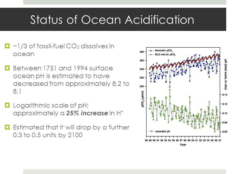 Status of Ocean Acidification ~1/3 of fossil-fuel CO 2 dissolves in ocean Between 1751 and 1994 surface ocean pH is estimated to have decreased from a