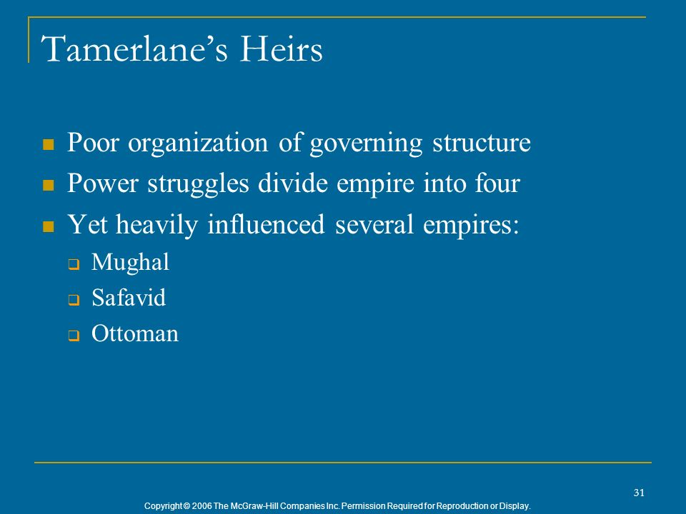 Copyright © 2006 The McGraw-Hill Companies Inc. Permission Required for Reproduction or Display. 31 Tamerlanes Heirs Poor organization of governing st