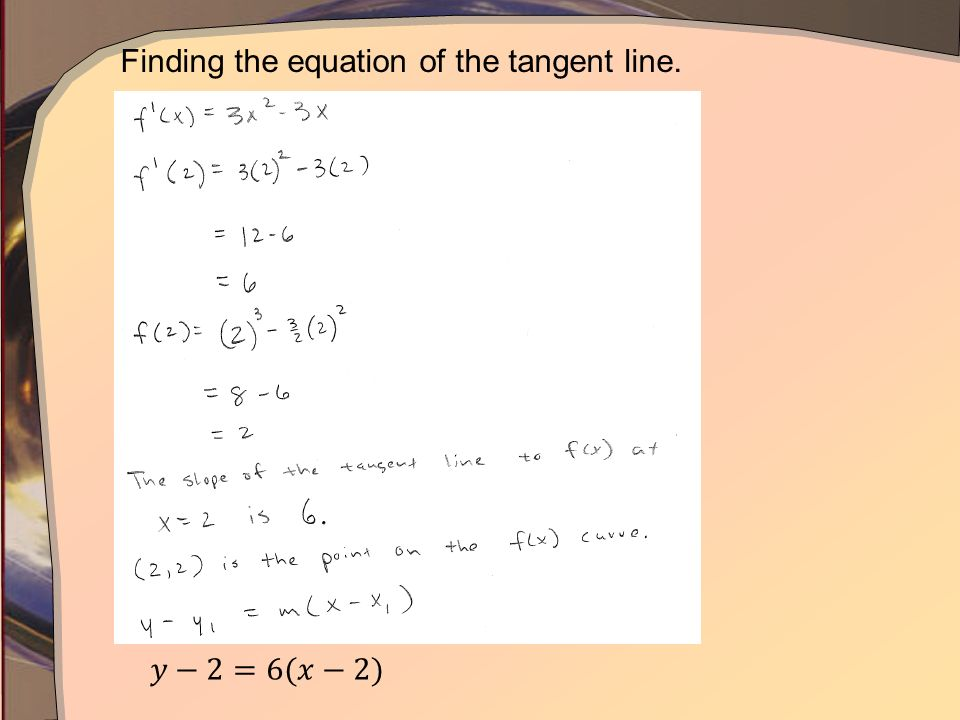 Finding the equation of the tangent line.
