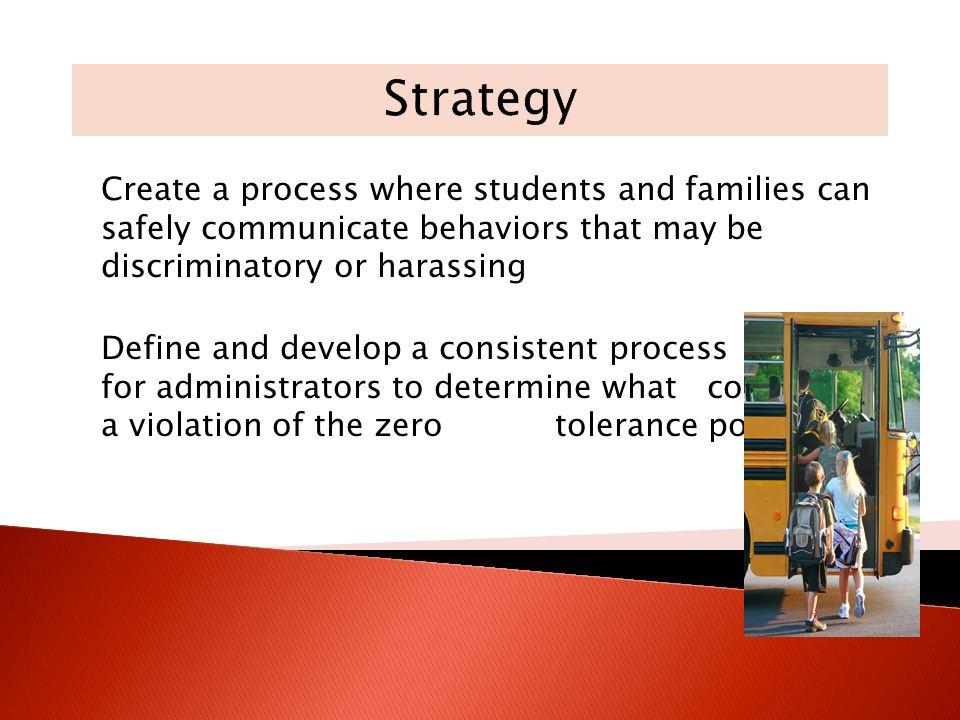 Create a process where students and families can safely communicate behaviors that may be discriminatory or harassing Define and develop a consistent process for administrators to determine what constitutes a violation of the zero tolerance policy