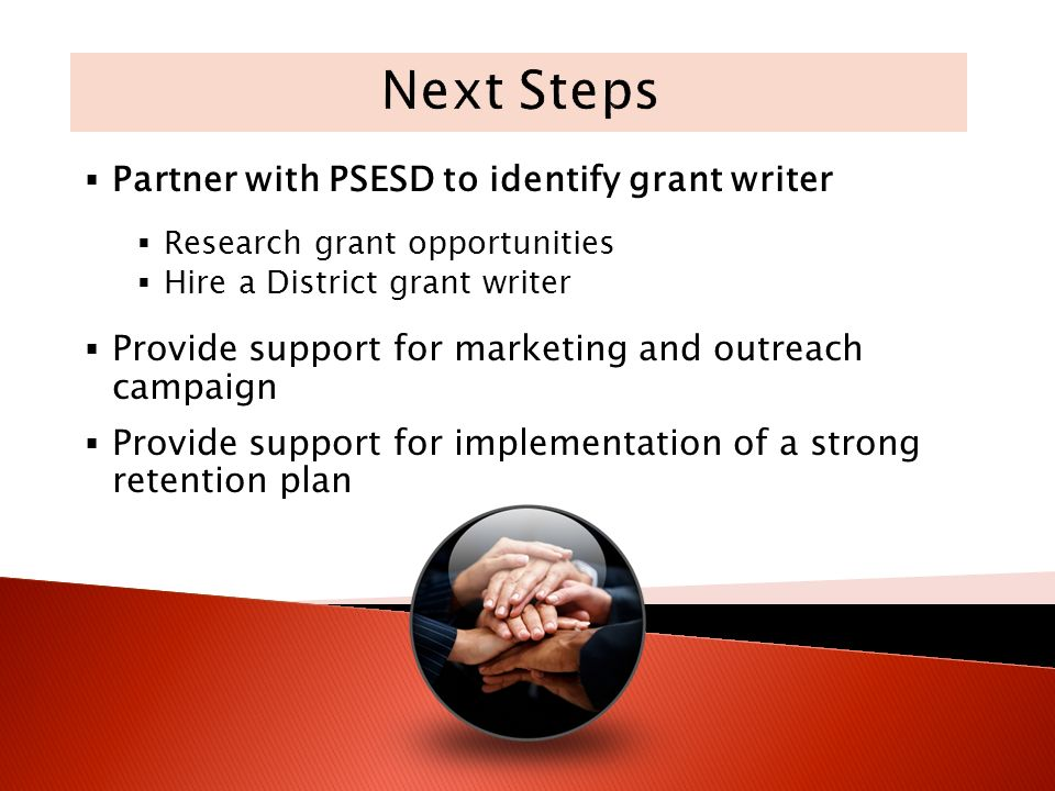 Partner with PSESD to identify grant writer Research grant opportunities Hire a District grant writer Provide support for marketing and outreach campaign Provide support for implementation of a strong retention plan