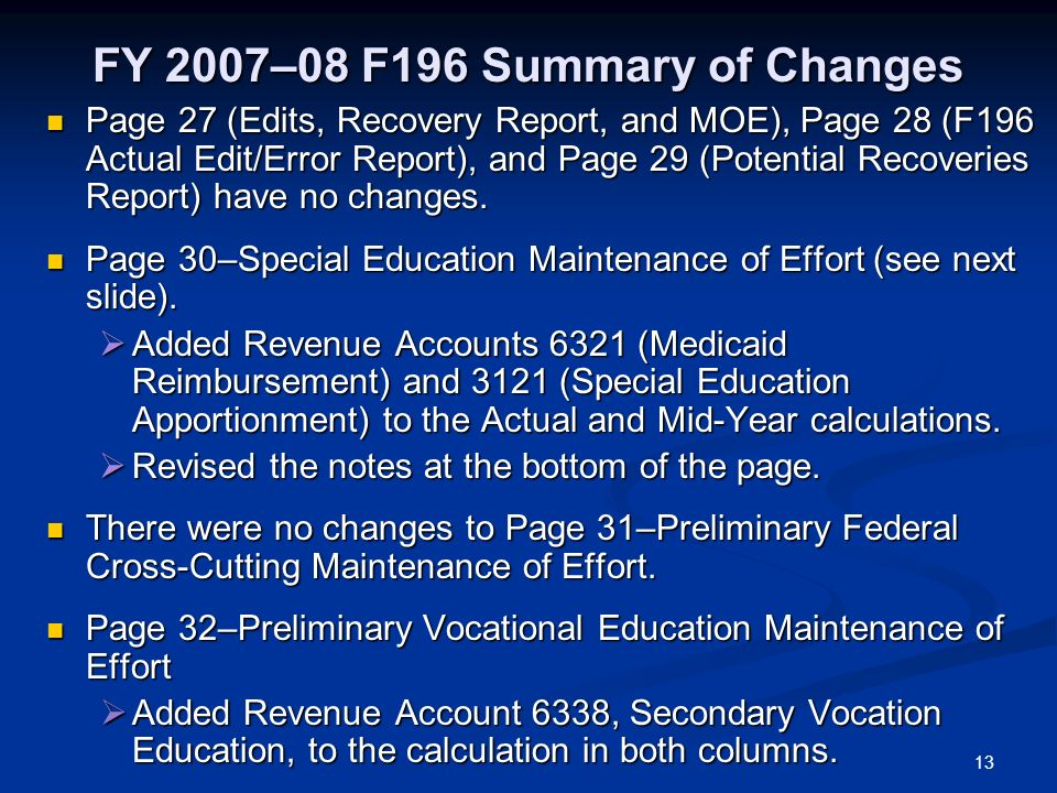 13 FY 2007–08 F196 Summary of Changes Page 27 (Edits, Recovery Report, and MOE), Page 28 (F196 Actual Edit/Error Report), and Page 29 (Potential Recoveries Report) have no changes.