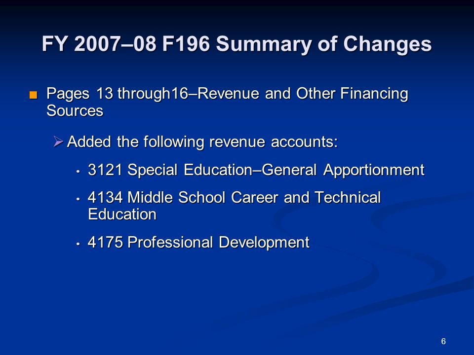 FY 2007–08 F196 Summary of Changes Pages 13 through16–Revenue and Other Financing Sources Pages 13 through16–Revenue and Other Financing Sources Added the following revenue accounts: Added the following revenue accounts: 3121 Special Education–General Apportionment 3121 Special Education–General Apportionment 4134 Middle School Career and Technical Education 4134 Middle School Career and Technical Education 4175 Professional Development 4175 Professional Development 6