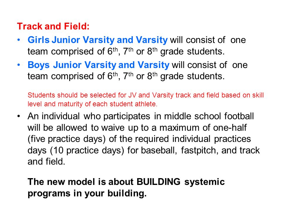 Track and Field: Girls Junior Varsity and Varsity will consist of one team comprised of 6 th, 7 th or 8 th grade students. Boys Junior Varsity and Var