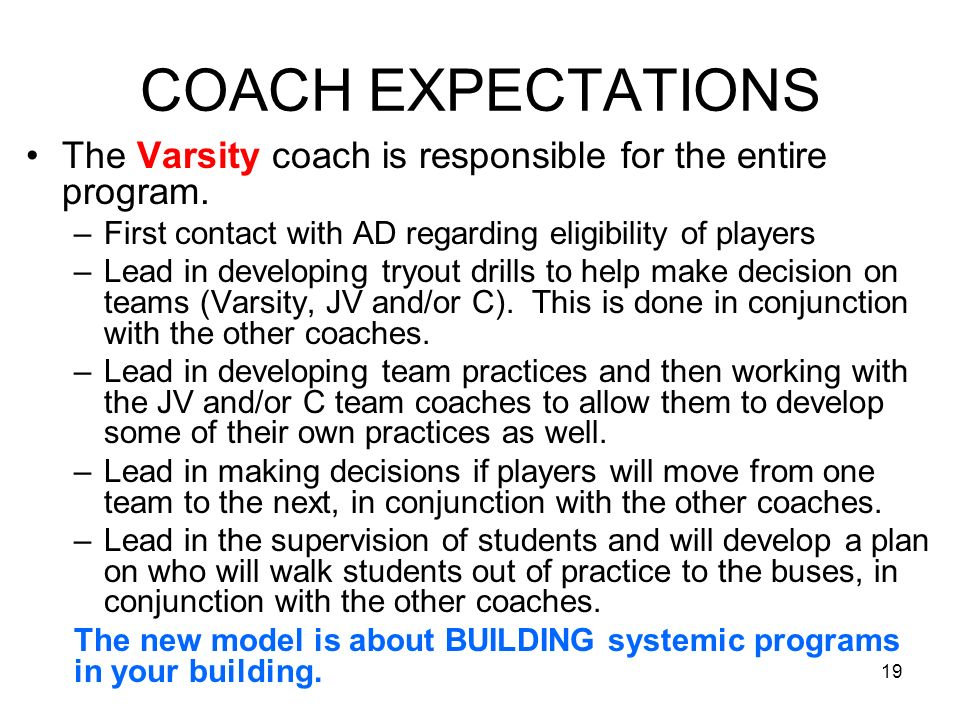 19 COACH EXPECTATIONS The Varsity coach is responsible for the entire program. –First contact with AD regarding eligibility of players –Lead in develo