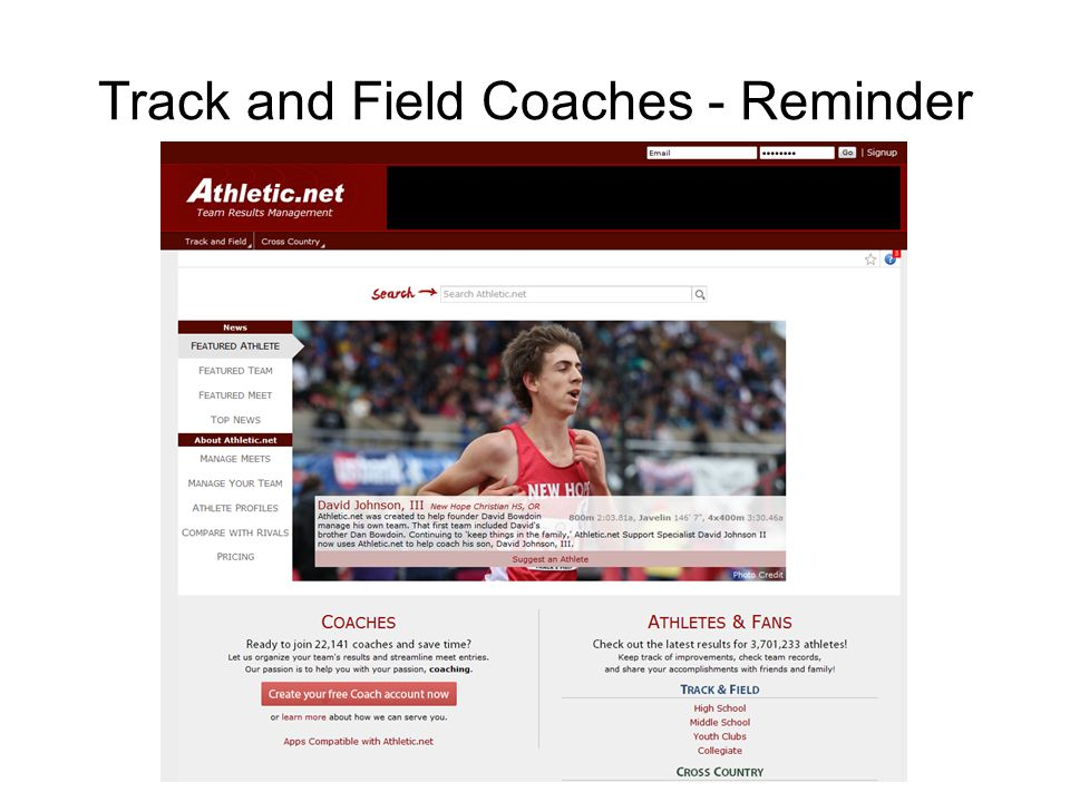 Track and Field Coaches - Reminder