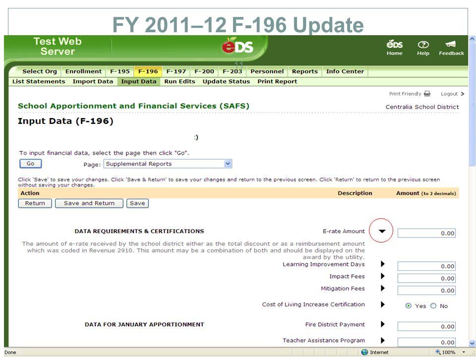 FY 2011–12 F-196 Update 11